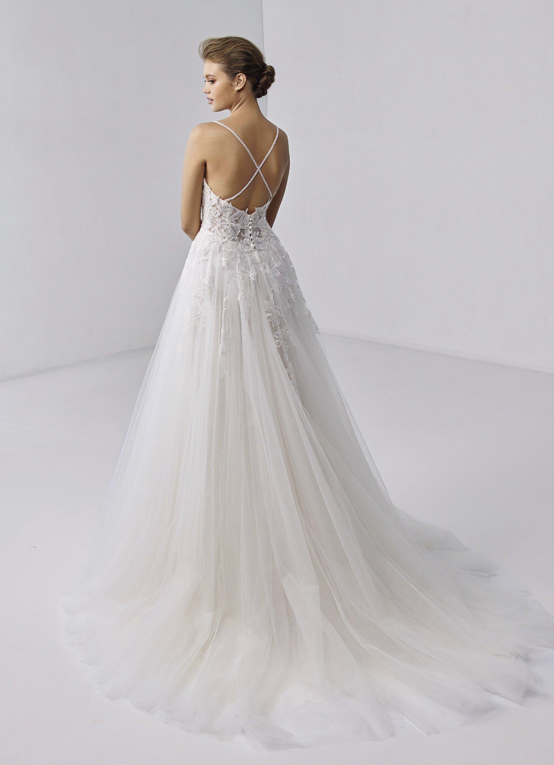 Weißes Prinzess-Brautkleid mit transparentem Spitzentop, Spaghettiträgern und Schleppe von Etoile, Modell Joie