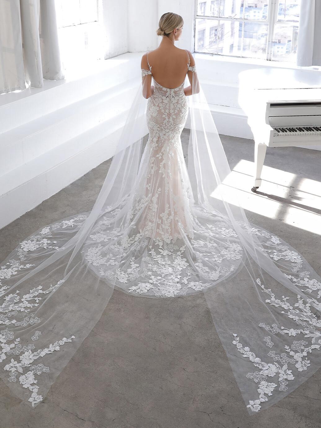 Hochzeitskleid in Blush im Fit & Flare-Schnitt mit Kontrastspitze und Off-Shoulder-Trägern von Blue by Enzoani, Modell Nadia
