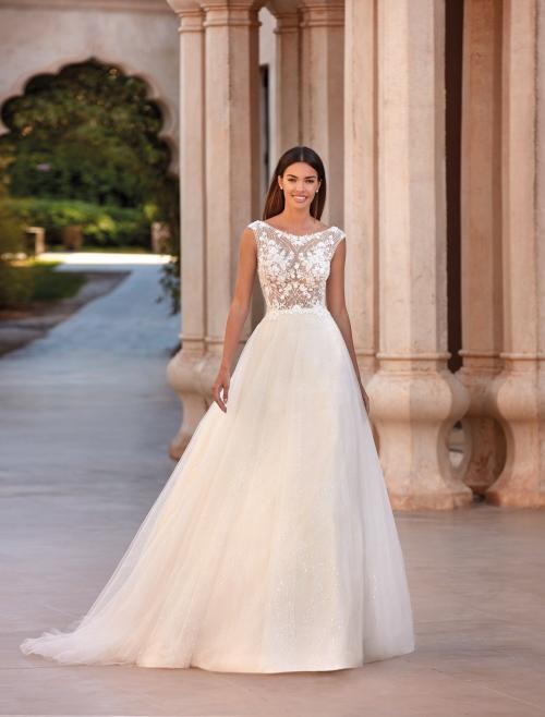 Prinzess-Brautkleid mit Tüllrock und transparentem Spitzentop von Demetrios, Modell 1077