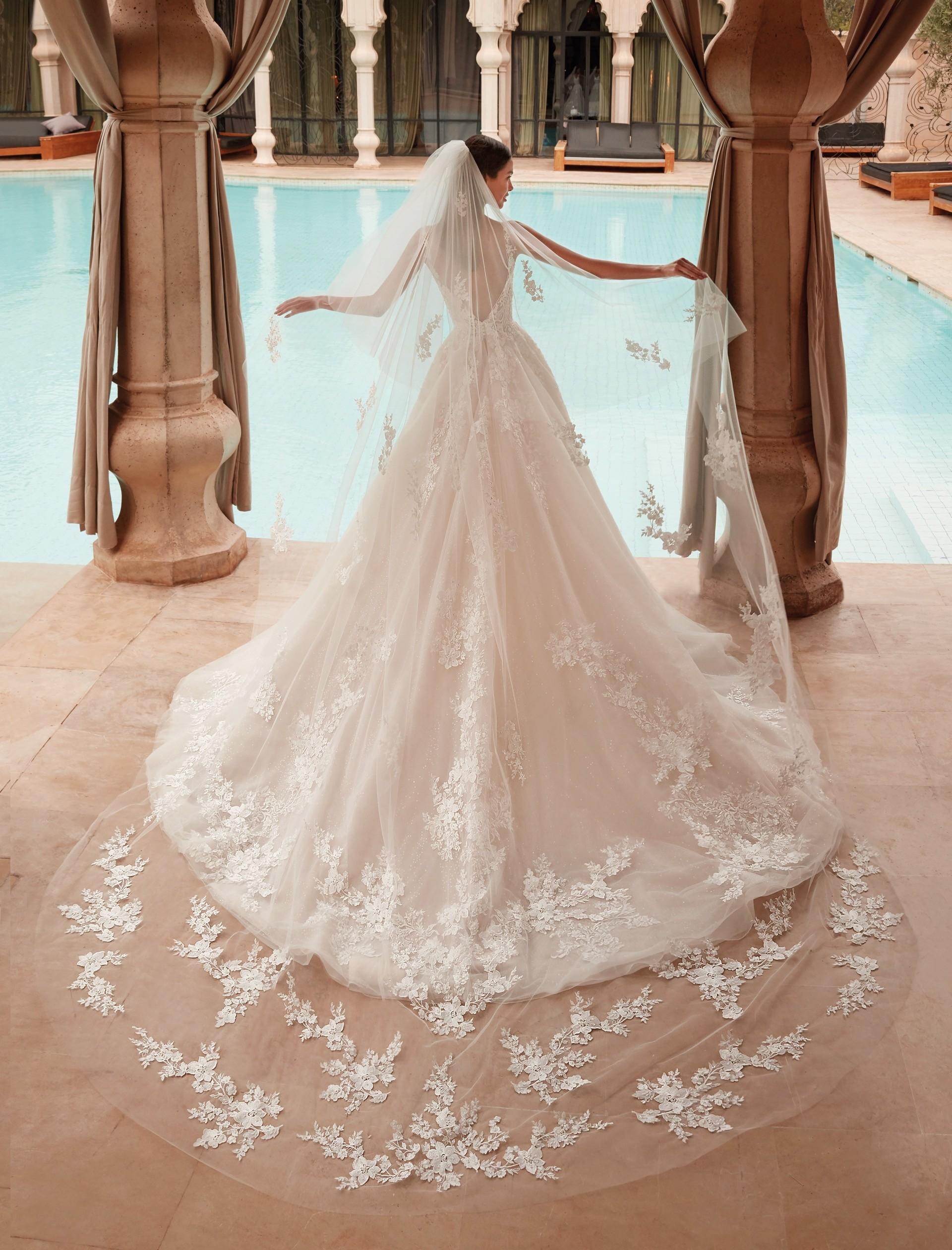 Prinzess-Brautkleid mit tiefem Rückenausschnitt, Schleppe und Schleier von Demetrios, Modell 1107