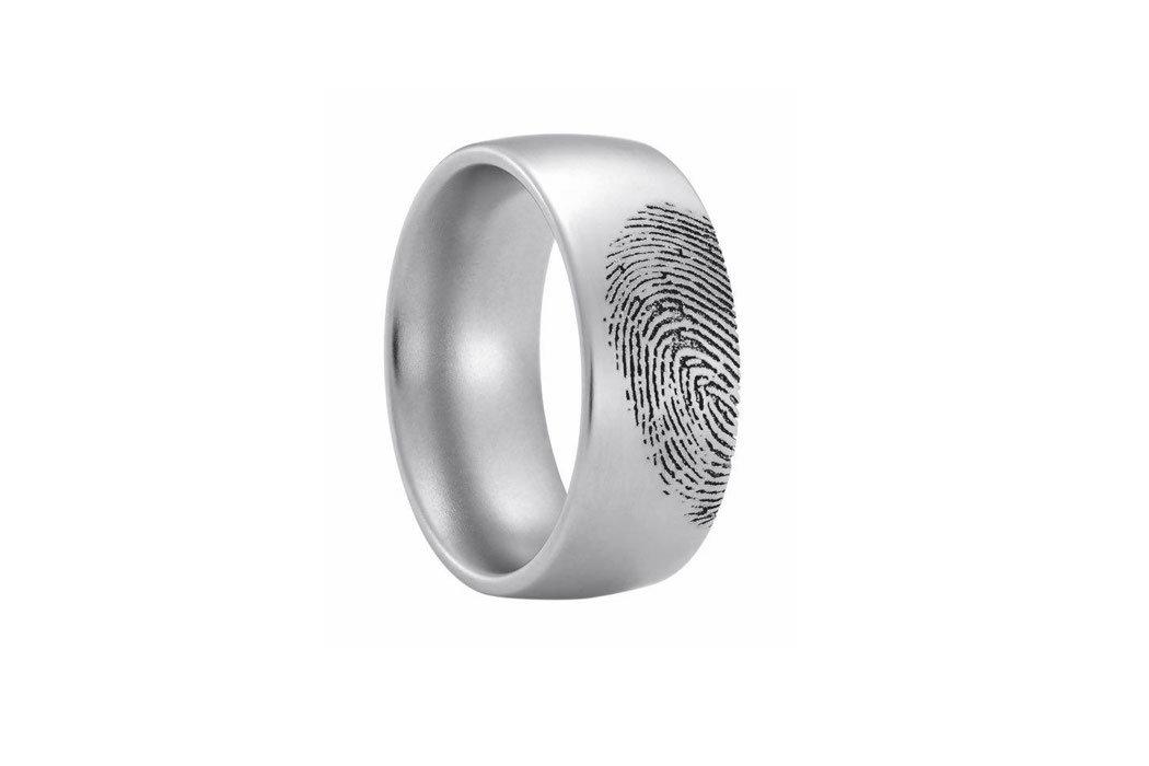 Trauring von Heideman Duett aus Edelstahl mit individueller Fingerprintgravur