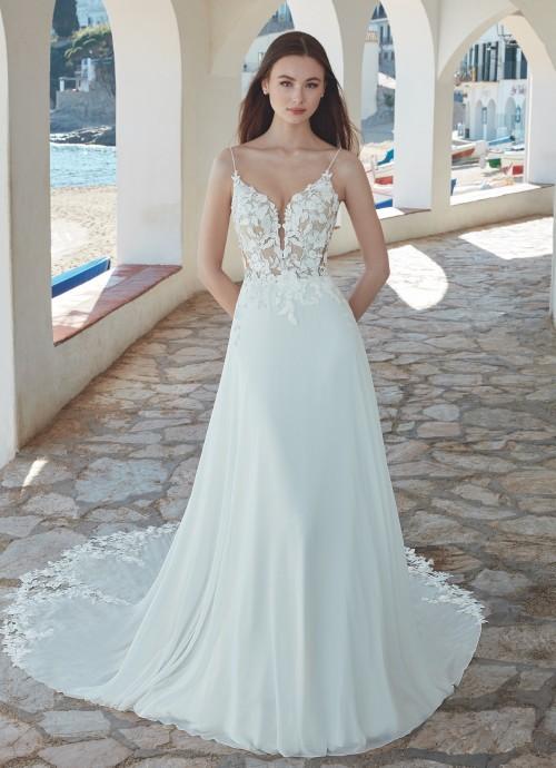 Hochzeitskleid in A-Linie mit transparentem Spitzentop, Plunge-Ausschnitt und Spaghettiträgern von Love, Modell Lamina