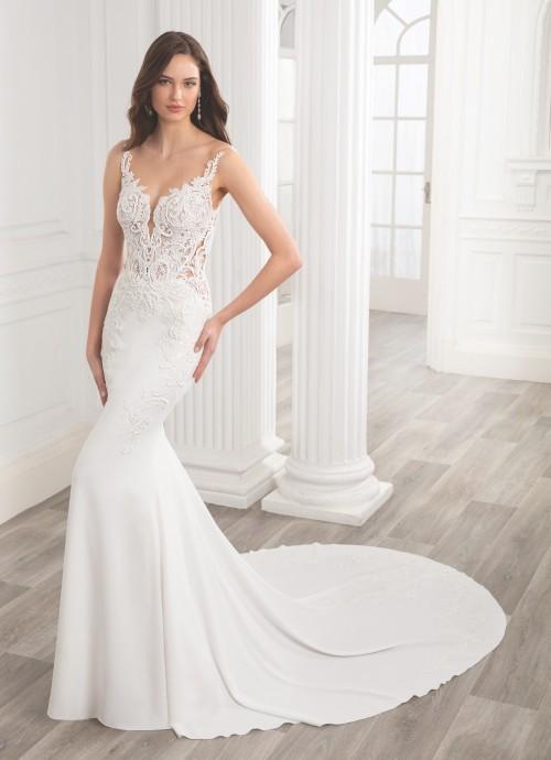 Weißes Brautkleid im Fit and Flare-Schnitt mit transparentem Spitzentop von Etoile, Modell Ava