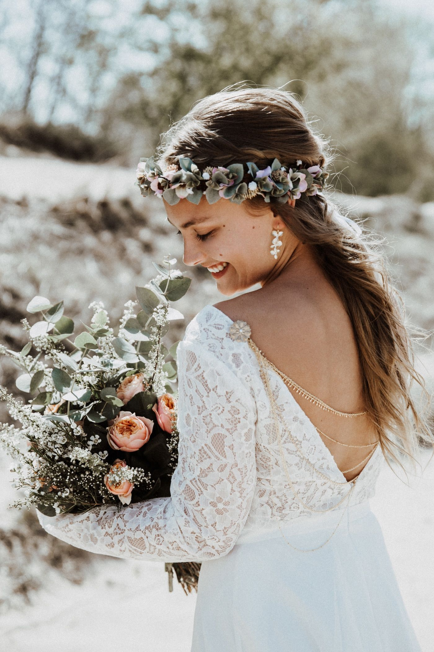 Blumenkranz im Boho-Stil