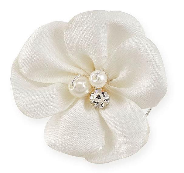 Curly weiße Blume mit Perlen