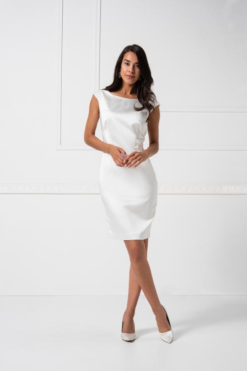 Kurzes Brautkleid mit U-Boot-Ausschnitt von Weise in Weiß