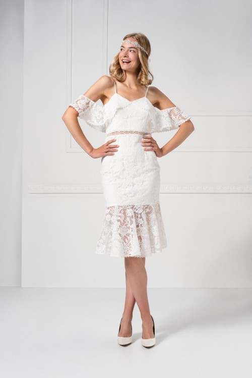 Kurzes Off-the-Shoulder-Kleid aus Spitze von Weise in Weiß