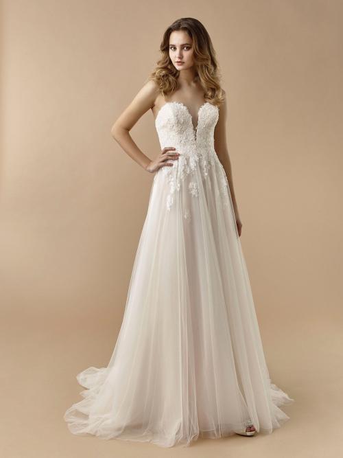 Brautkleid in Rosé mit 3D-Spitze, Tüllrock, Plunge-Ausschnitt und Schleppe von Beautiful Bridal, Modell 20-24