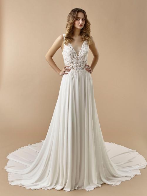 Brautkleid in A-Linie mit transparentem Spitzentop, Plunge-Ausschnitt, fließendem Rock und Schleppe von Beautiful Bridal, Modell BT 20-06
