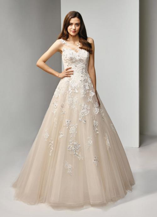 Brautkleid im Prinzessschnitt mit Spitze und Tattoo-Effekt in Blush von Beautiful Bridal, Modell BT19-3
