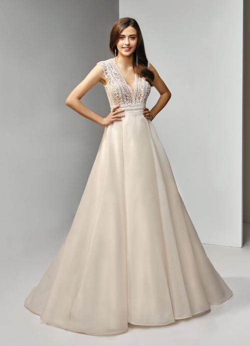 Brautkleid in Blush, in A-Linie mit Spitzentop und V-Ausschnitt, Beautiful Bridal, Modell BT19-20