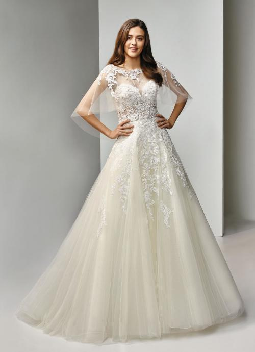 Cremefarbenes Brautkleid mit weißer Spitze, Prinzesschnitt, transparenter Spitzenkorsage und Cape von Beautiful Bridal, Modell BT19-8