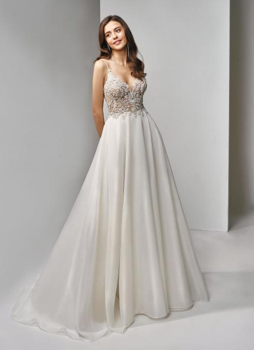 Cremefarbenes Brautkleid mit bestickter Korsage, Spaghettiträger und Prinzessschnitt von Beautiful Bridal, Modell BT19-1