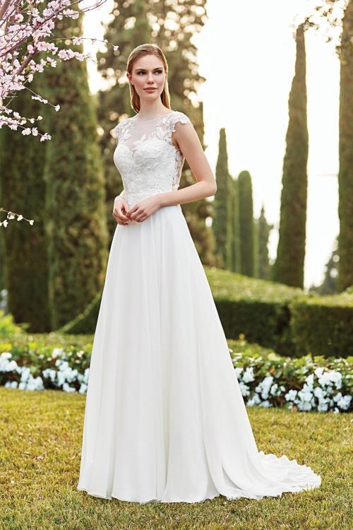 Brautkleid in A-Linie mit Illusion-Ausschnitt, Cap-Ärmeln und Rücken-Cut-out von Sincerity, Modell 44159