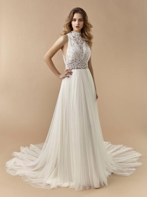 Brautkleid mit Tüllrock, gelayertem, transparenten Spitzentop und Neckholder-Ausschnitt von Beautiful Bridal, Modell BT 20-04