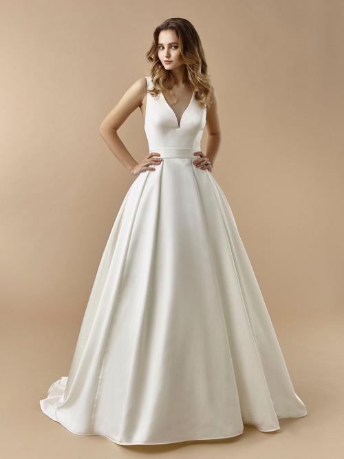 Brautkleid im Prinzess-Stil mit Gürtel, V-Ausschnitt, teifem Rücken, Schleife und Schleppe von Beautiful Bridal, Modell BT 20-23