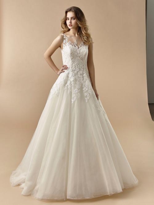 Brautkleid im Prinzess-Stil mit Illusion-Ausschnitt und Tattoo-Effekt von Beautiful Bridal, Modell BT 20-07