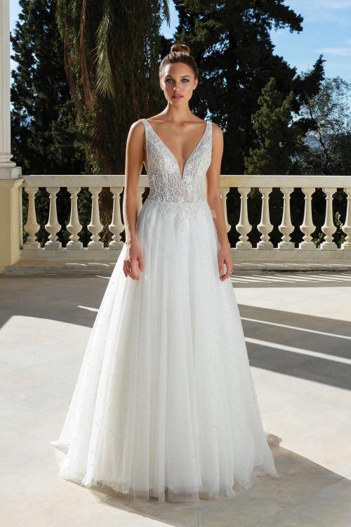 Brautkleid im Prinzessstil mit Tüllrock, transparentem Spitzentop mit Plunge-Ausschnitt und Perlen-Stickerei sowie tiefem Rücken von Justin Alexander, Modell 88129