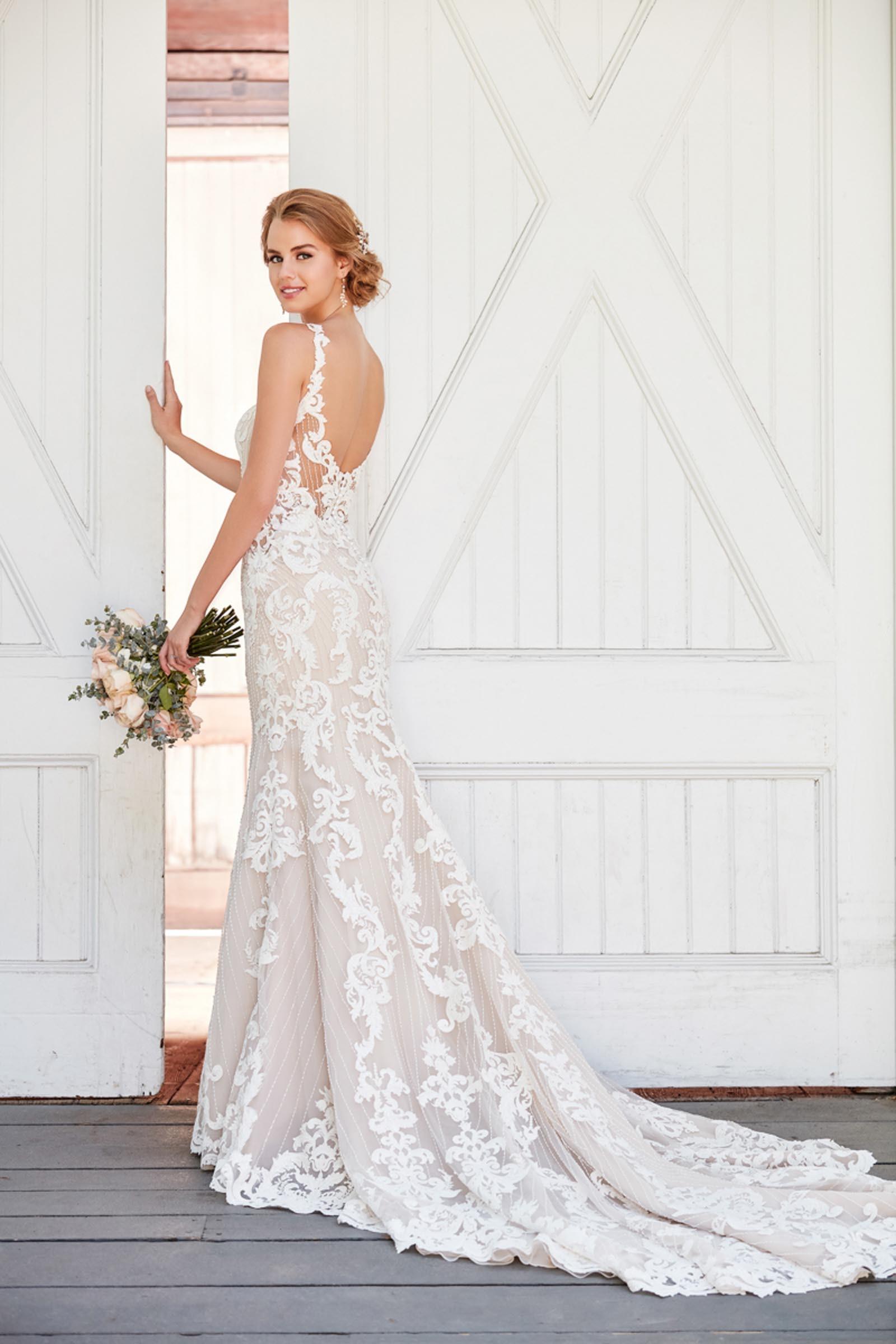 große Auswahl an Farben sehr bequem Offizielle Website Figurbetontes, rosafarbenes Brautkleid im Vintage Stil mit ...