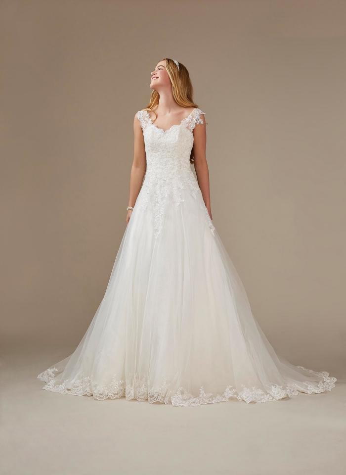 A-Linien Brautkleid mit Spitze und V-Ausschnitt von Weise, Modell 336452