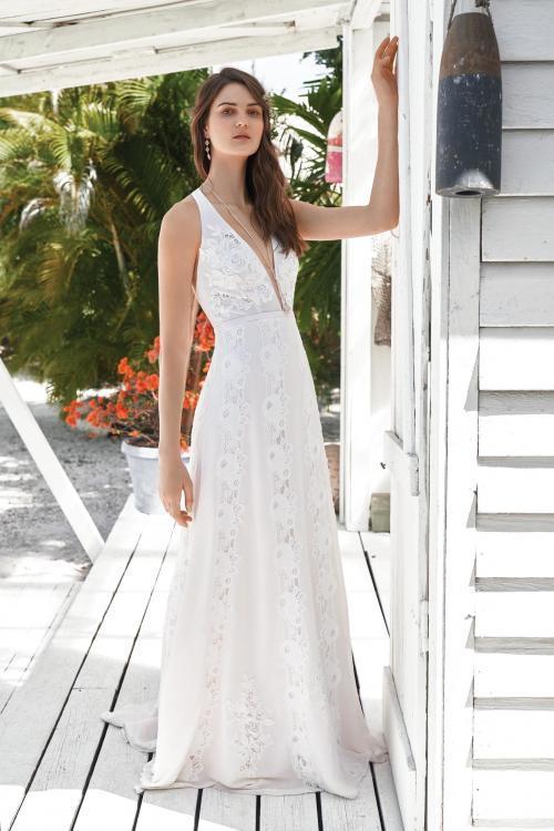 Vintage-Brautkleid mit Spitze von Lillian West, Modell 66046