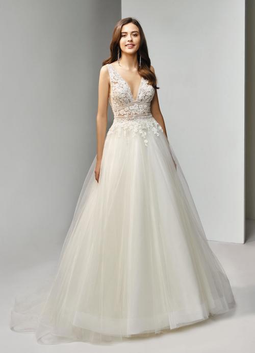 Brautkleid im Prinzesschnitt mit Spitze und V-Ausschnitt von Beautiful Bridal, Modell BT19-26