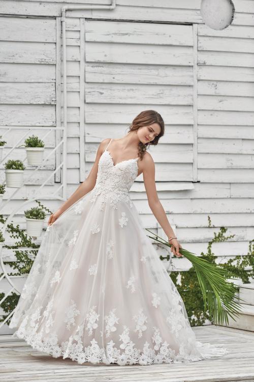 Prinzessinnen-Brautkleid mit Spaghettiträger in Rose von Lillian West, Modell 66045