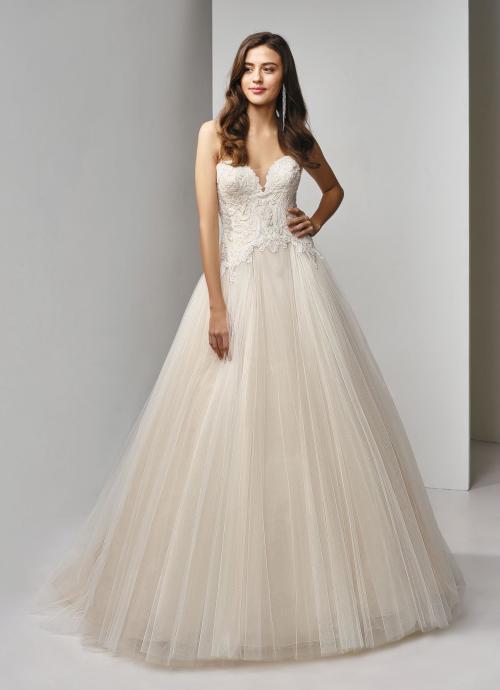 Trägerloses Brautkleid mit Spitze und Prinzessschnitt von Beautiful Bridal, Modell BT19-21