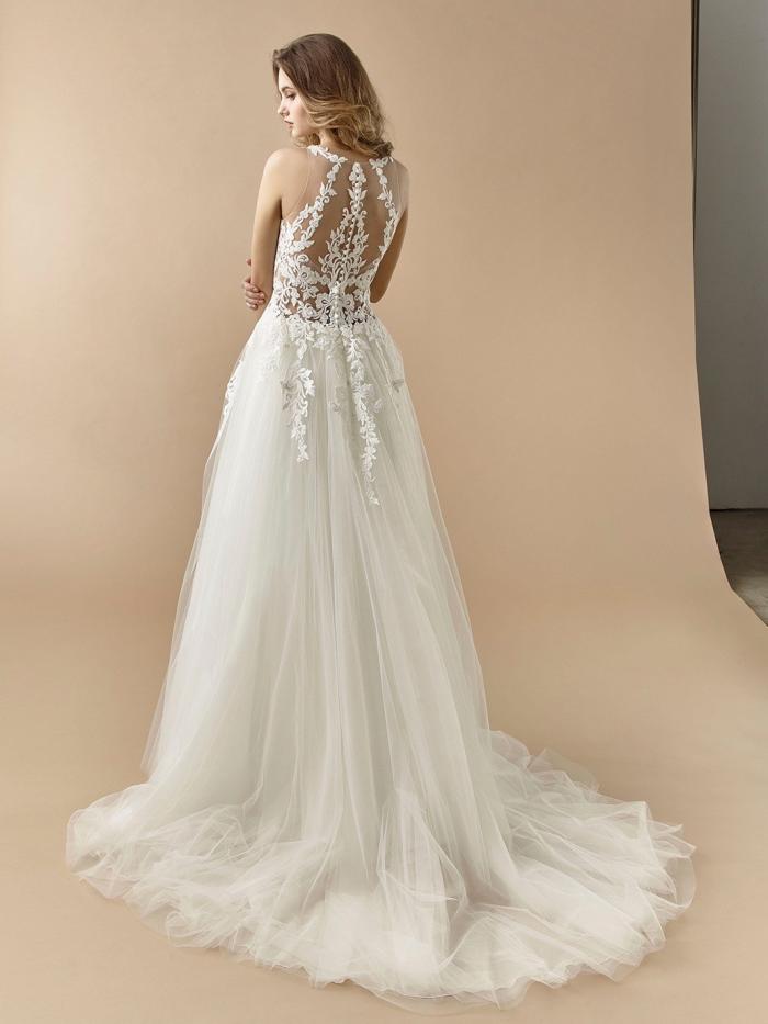 Brautkleid im Prinzess-Stil mit Tüllrock, transparentem Spitzentop, Tattoo-Effekt und raffiniertem Rücken von Beautiful Bridal, Modell BT 20-10