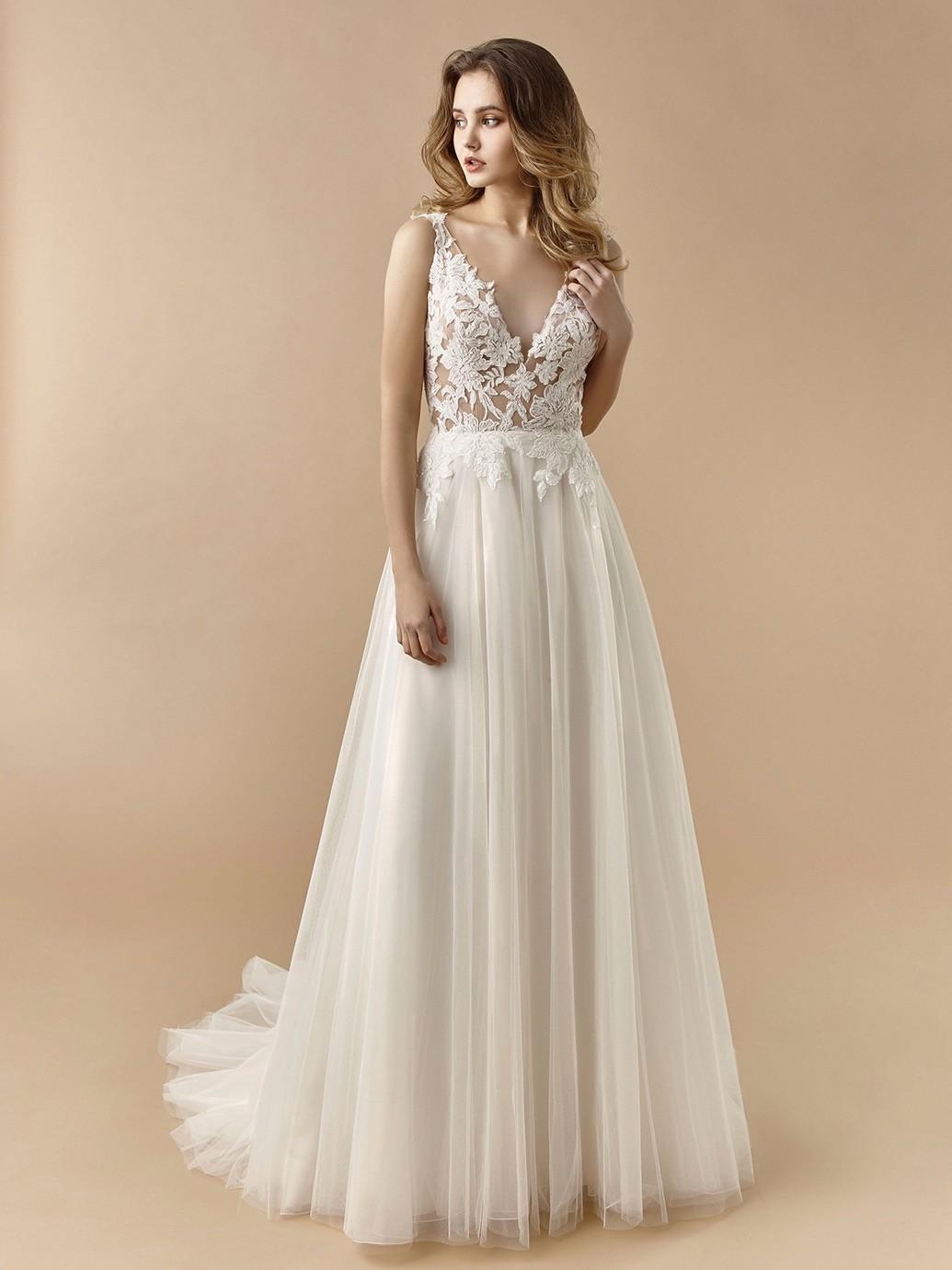 Brautkleid in A-Linie mit Tüllrock, transparentem ...
