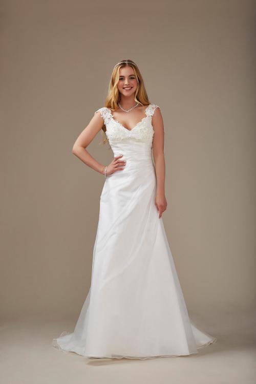 weißes A-Linien Brautkleid mit V-Ausschnitt und elegantem Rücken von Weise, Modell 336642