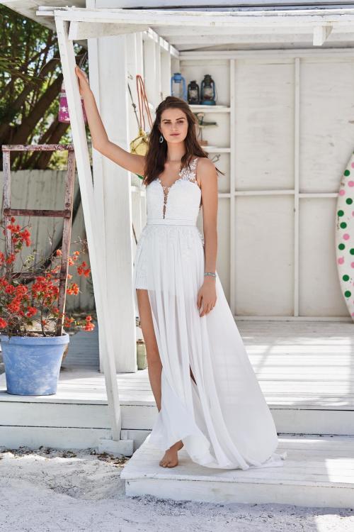 weißes Brautkleid mit kurzem und langem Rock von Lillian West, Modell 66033