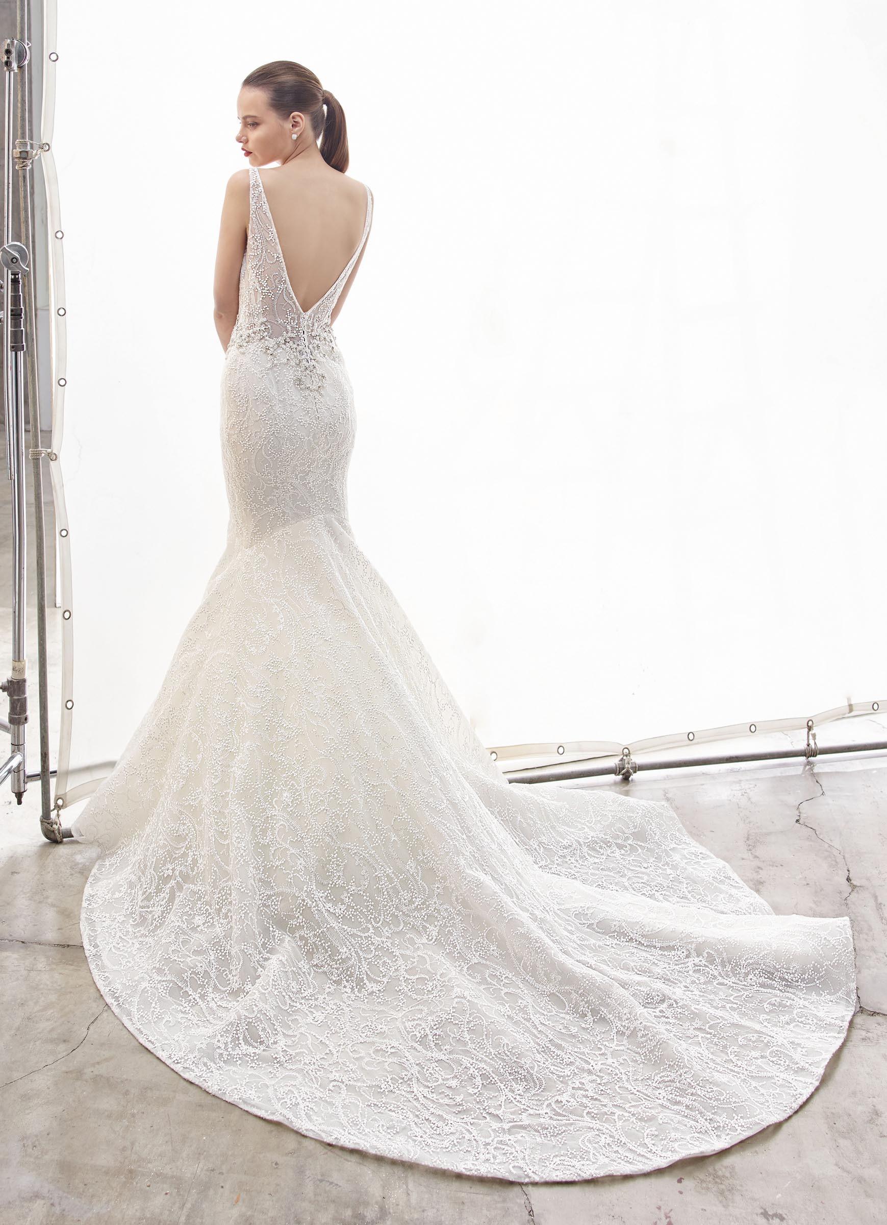 Weißes Brautkleid im Fit-and-Flare-Schnitt mit Spitze, transparentem Top, tiefem V--Ausschnitt, Strassdekoration und Schleppe von Enzoani, Modell North, Rückansicht