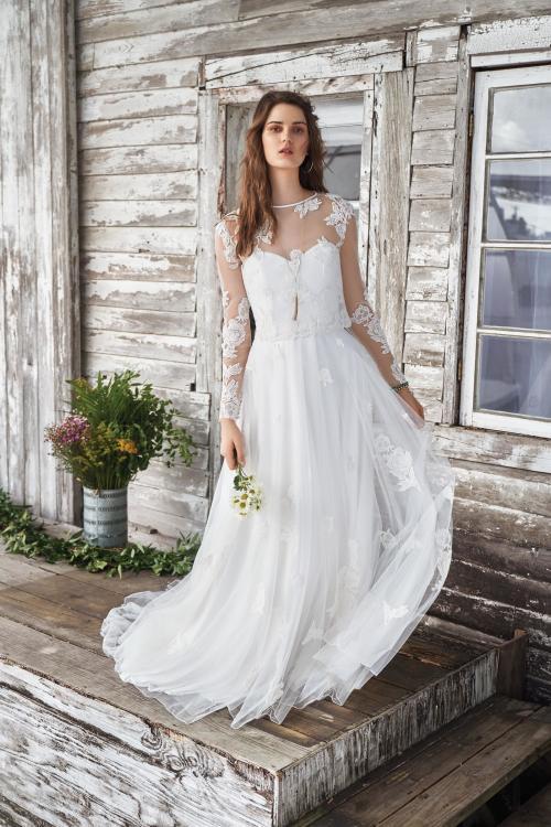 weißes, wandelbares Brautkleid mit Herzausschnitt und transparentem Top von Lillian West, Modell 66041