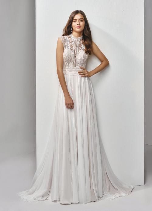 Hochgeschlossenes Brautkleid mit Spitzentop von Beautiful Bridal, Modell BT19-19