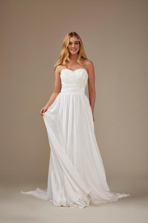 schulterfreies, schlichtes Brautkleid in Weiß von Weise, Modell 336122