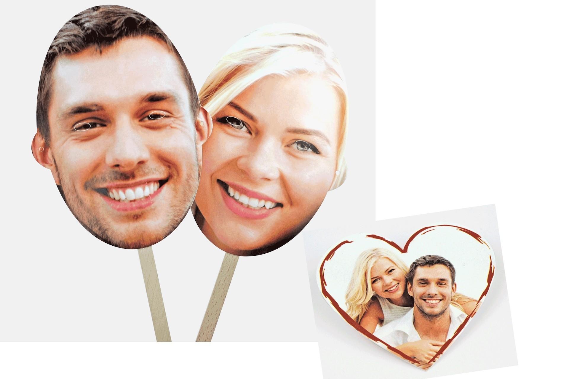 Fotomasken als Überraschung fürs Brautpaar
