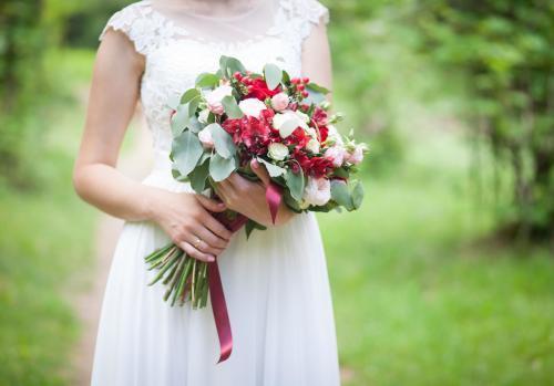 Brautstrauß in Rot und Grün