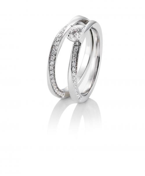 Weißgold-Ringset aus Verlobungsring und Trauring mit Brillanten
