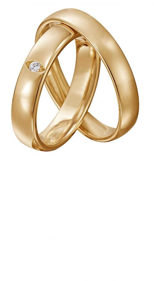 klassische Trauringe aus Gelbgold mit Diamant