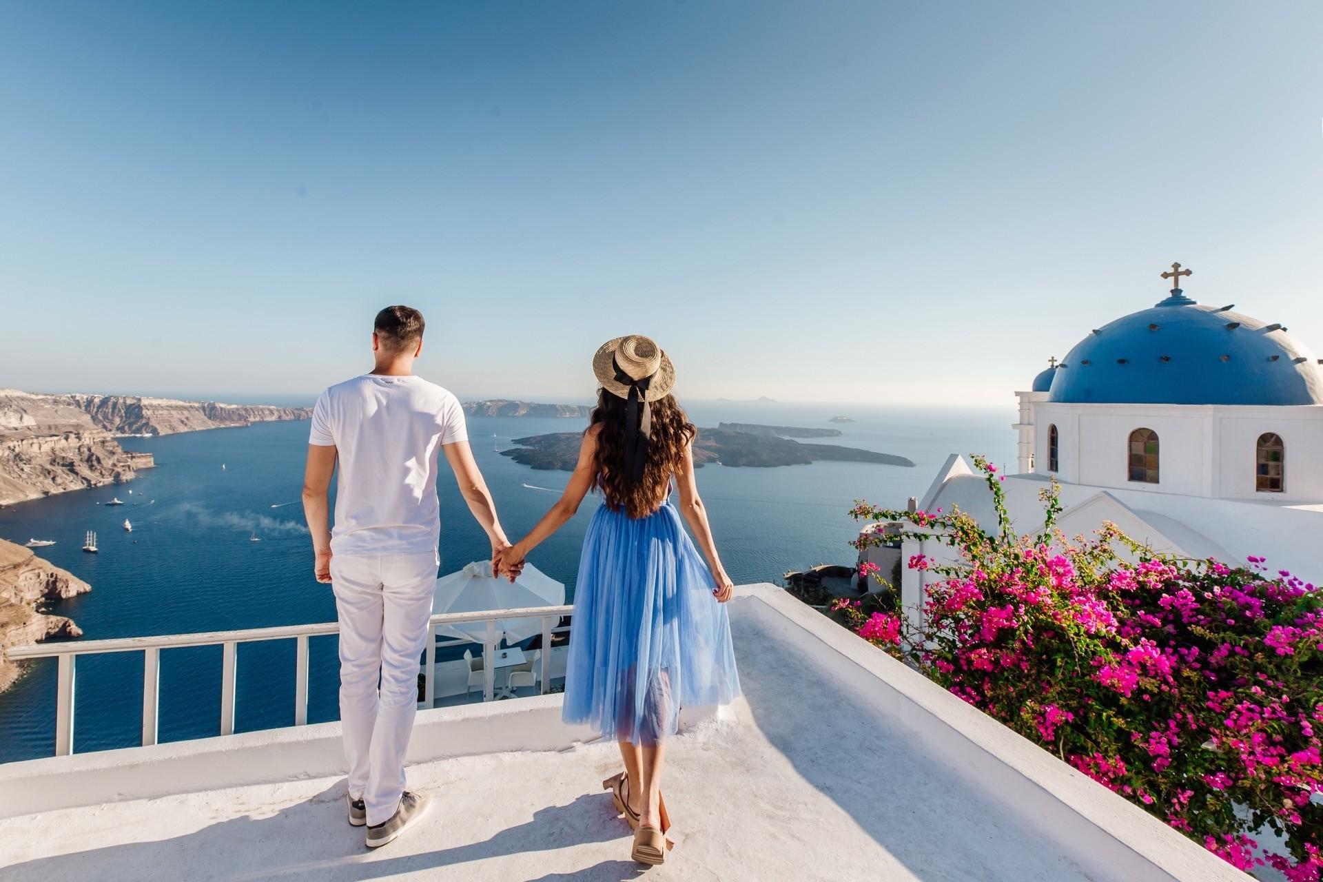 Heiratsantrag in Oia, Santorin