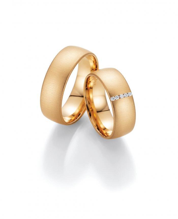 Trauringpaar Apricotgold mit Diamantbesatz