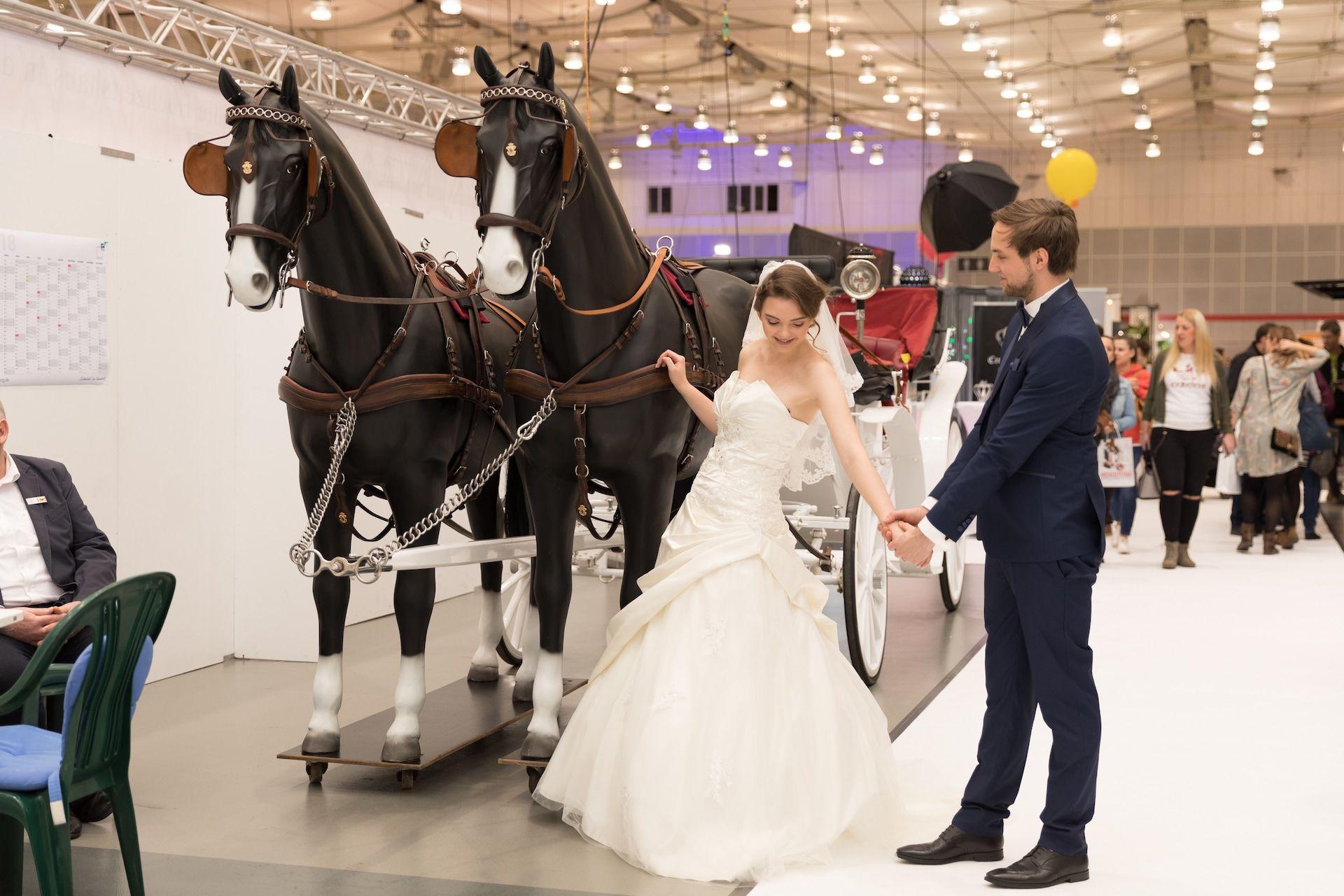 Brautpaar vor Hochzeitskutsche