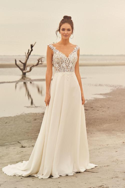 transparentes Brautkleid mit Top aus Spitze, Vorderansicht