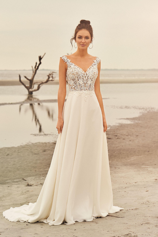 Brautkleid in A-Linie mit transparentem Spitzentop und V