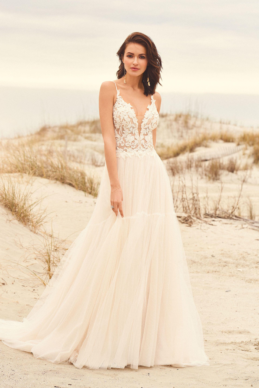 Brautkleid in A-Linie mit transparentem Spitzentop, Plunge