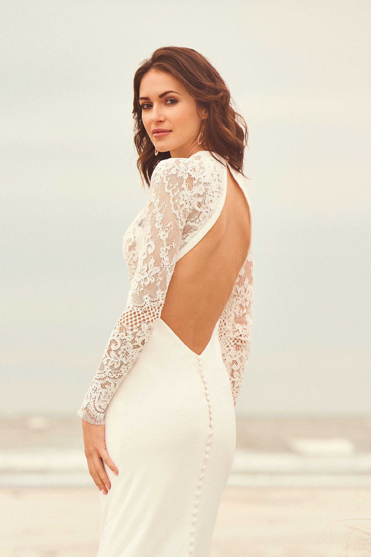 Brautkleid fit & Flare transparent mit Plunge-Ausschnitt aus Spitze, Rückenansicht