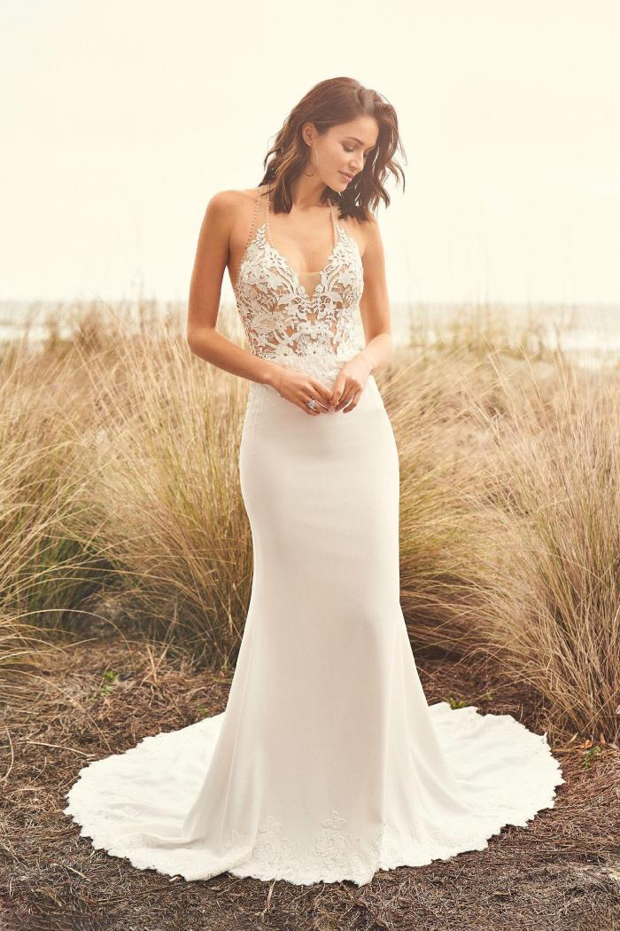 Brautkleid fit & Flare transparent aus Spitze, Vorderansicht