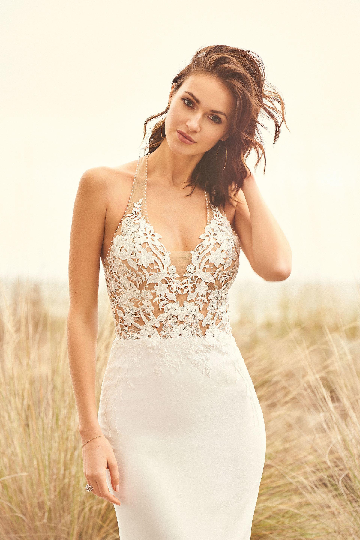 Brautkleid fit & Flare transparent aus Spitze, Nahaufnahme Vorderansicht