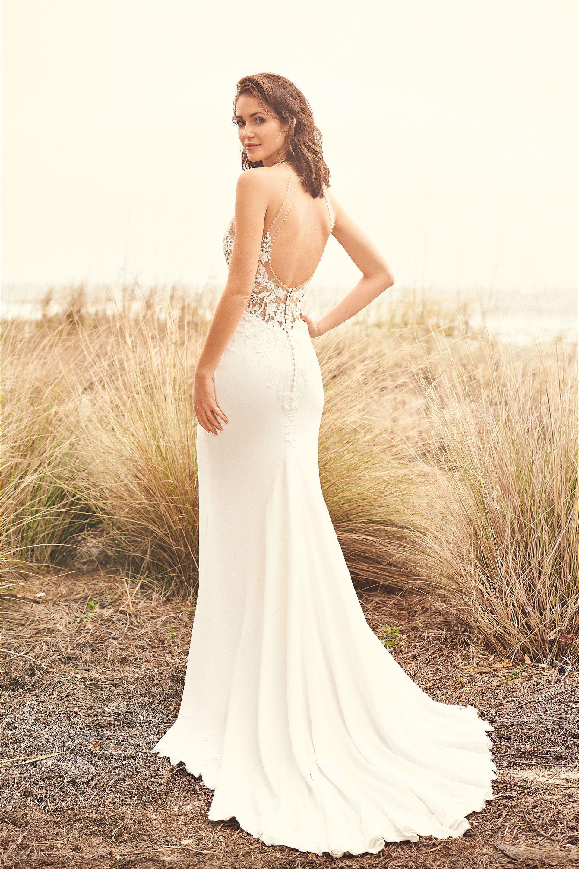 Brautkleid fit & Flare transparent aus Spitze, Rückenansicht